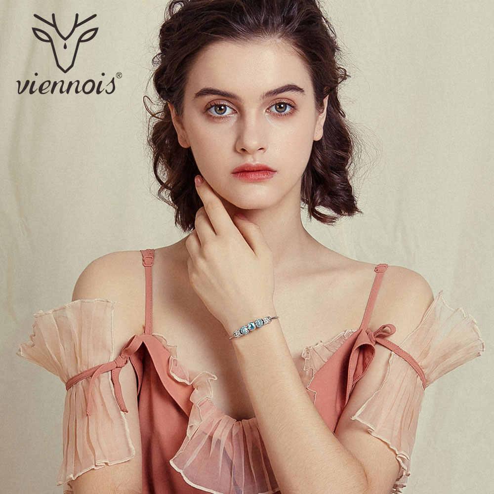 Viennois różowe złoto/srebrny kolor bransoletki i Bangles dla kobiet moda Top austriackie Rhinestone biżuteria z niebieskim kryształem 2019