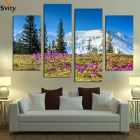 Free Shipping HD Big Snow Mountain 4 Panel Modular Pictures Printed Oil Painting Canvas Prints
