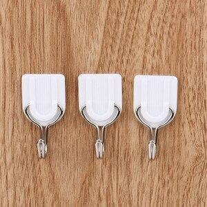Image 5 - Ganchos 2019 6/12 Uds gancho con adhesivo fuerte Pared Soporte de suspensión adhesivo para la puerta de la cocina baño blanco