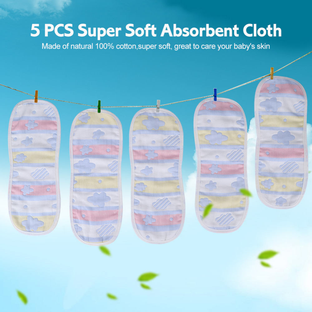 5PCS /lot Reusable Baby Infant Cloth Diapers Liners Washable Soft Cotton Cloth Diaper For Newborns Gauze Baby Nappy Insert