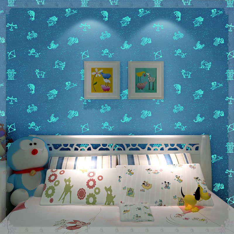 Liuminous Wallpaper For Kids Bedroom Boys Girls Living Room Non Woven 3D Wall Papers Night