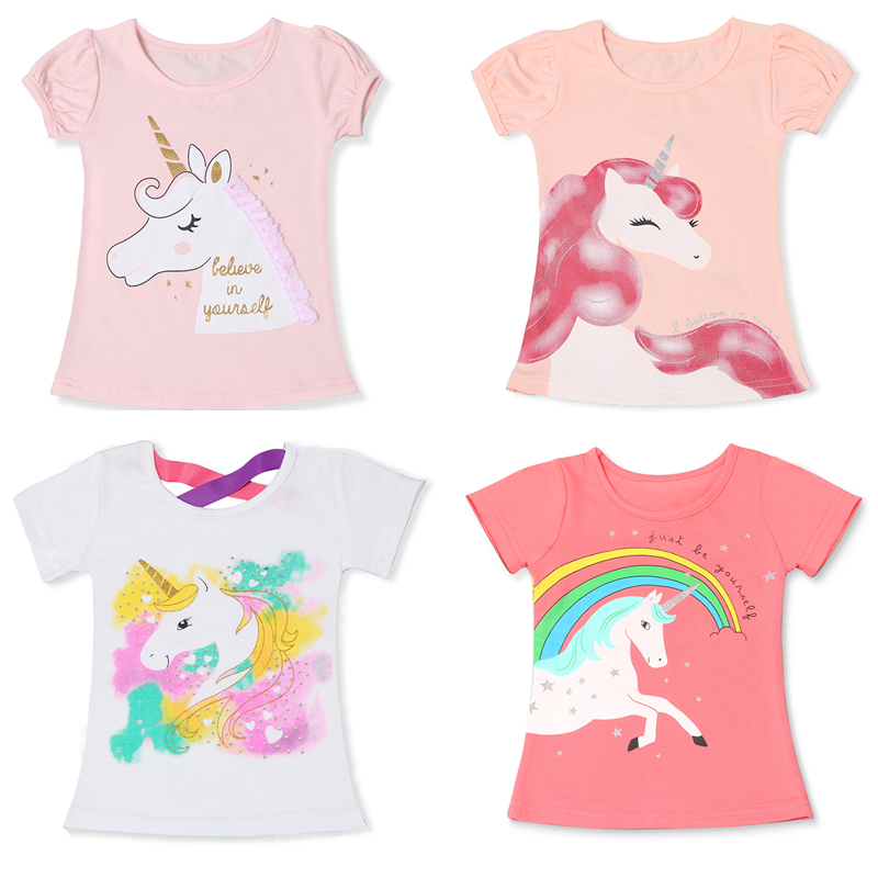 T-Shirts Unicorn Princess-Tops Baby-Girl Kids Cotton Fashion Children Summer Cartoon