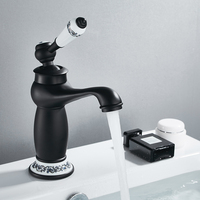 Luxury Basin Bath Faucet European Retro Single Handle Black Chrome for Cold and Hot Water Sink Mixer Tap Mixer