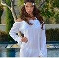 Branco Barra Pescoço Rendas Patchwork Verão Vestido de Praia 2016 Verão vestidos de verão Plus Size Solto Boho Vestido Sexy Vestido De Festa Curto