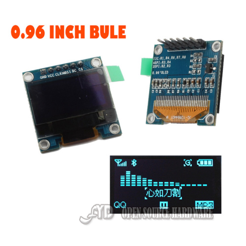 0.96 I2C IIC SPI Serial 128X64 Blue OLED LCD LED Display Module for Arduino