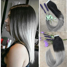 Full Shine Ombre Color 1b Silver Brazilian Tape in Remy Human Hair Extensions High Quality Human Skin Weft  Adhensive Extensions