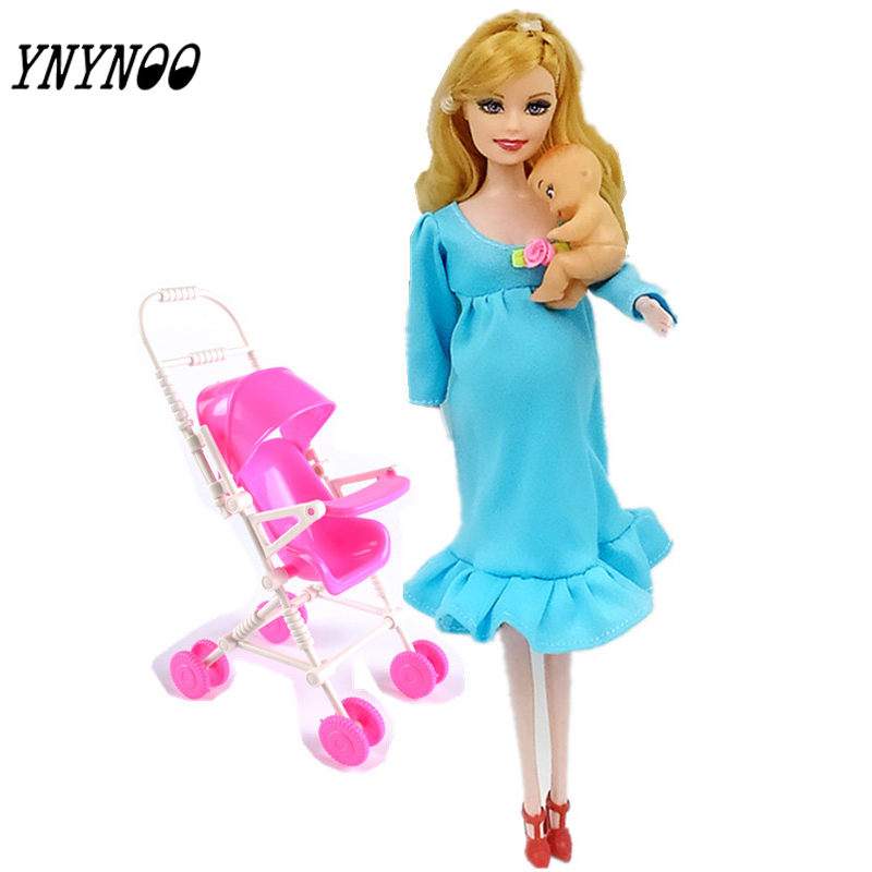 YNYNOO MOM+Baby+Stroller Toy Pregnant Doll Mini Baby In Belly Baby Alive Reborn Winx Doll In Her Tummy Real Happy Family Barbies стоимость