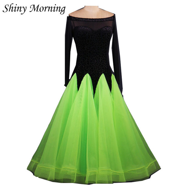 f05d4f76e3c4 green black patchwork adult Viennese Ballroom Fox trot Quick step tango  Modern galop Waltz competition practice Dance Dress