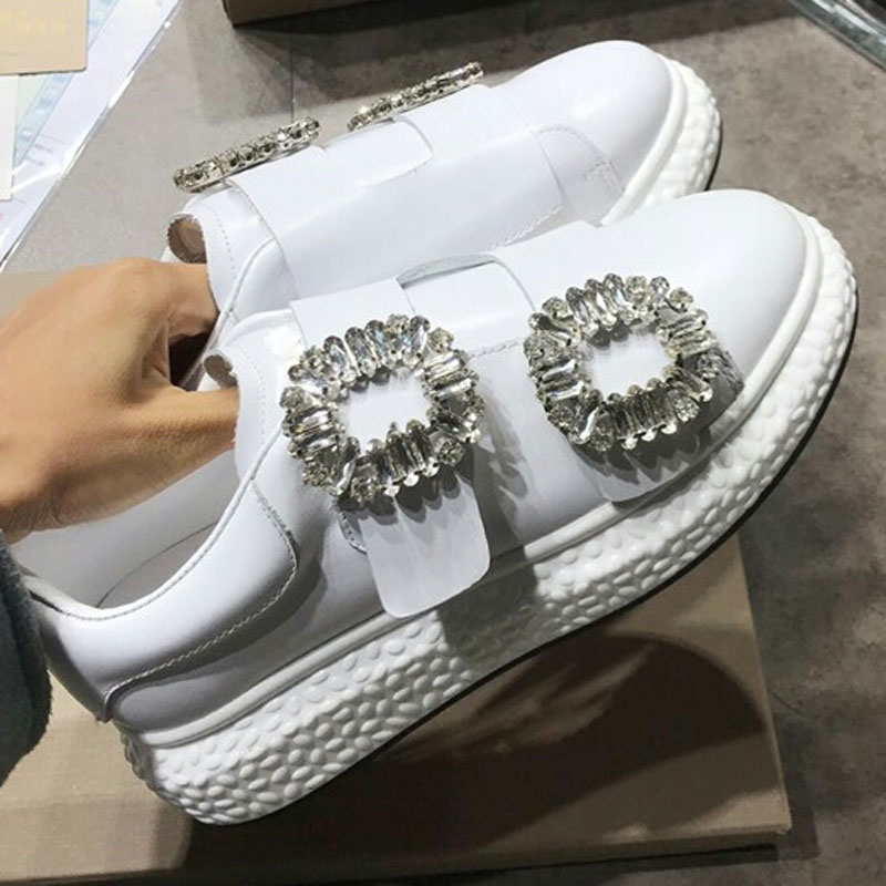 Pic Cuir Motif As forme Top Blanc De Chaussures Appartements as Femme Marque Sneakers Cristal En Embelli Boucle Low Pic Star Rond Bout Plate YwE6qHR