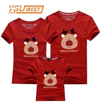2020 boże narodzenie jednakowe stroje rodzinne z krótkim rękawem bawełna jednakowe ubrania rodzinne T-shirt rodzinny wygląd pasujące ubrania rodzinne tanie i dobre opinie campure Koszulki moda krótkie Dobrze pasuje do rozmiaru wybierz swój normalny rozmiar COTTON W stylu rysunkowym Matka Ojciec Dziecko