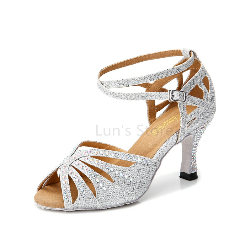 Νέα γυναικεία κορίτσια ασημί γυμνό μαύρο μπλε σατέν κορδόνι Salsa αίθουσα χορού παπούτσια χορού λατινικά παπούτσια χορού παπούτσια χορού Mambo DS369