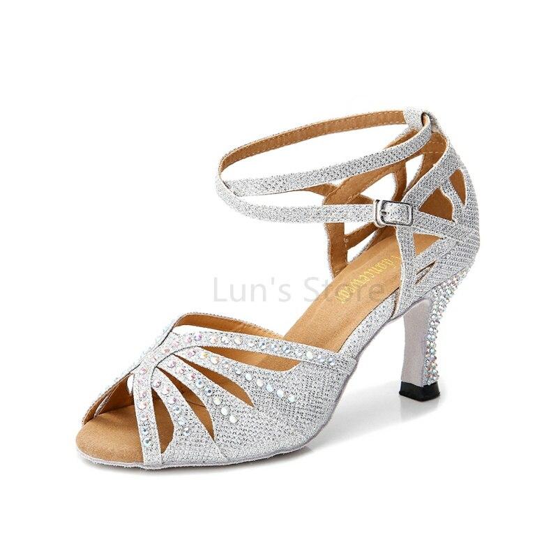 Noi fete de damă din argint Nud negru albastru Satin stras Salsa Ballroom Dance Pantofi Pantofi de dans latin Mambo Dancing Shoes DS369