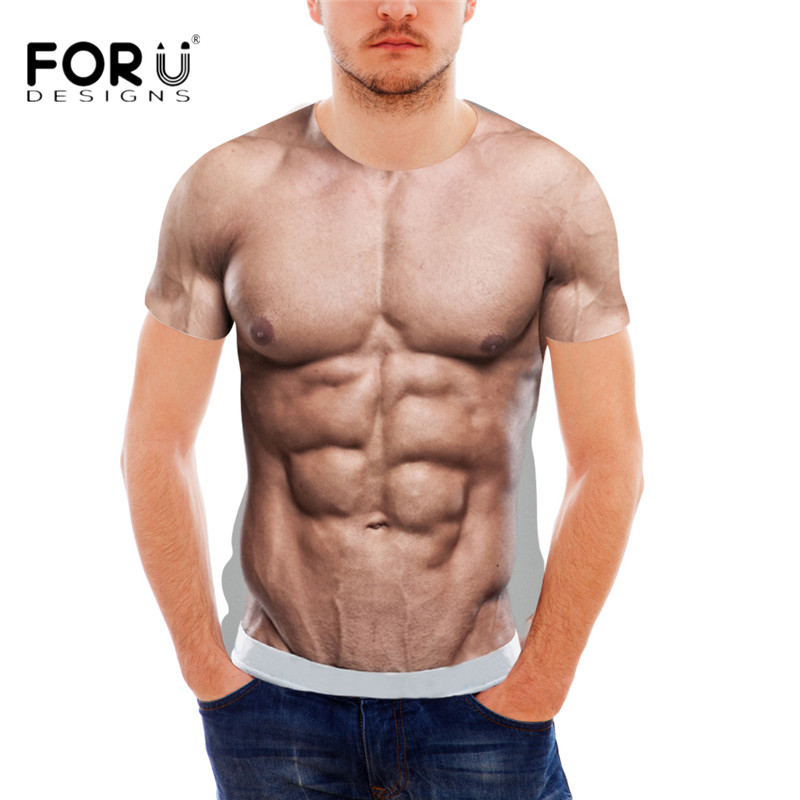 FORUDESIGNS Funny 3D Muscle Print T-skjorte for menn Designer Crossfit Male Casual Tee Summer Style Short Sleeve Menn Top Tee