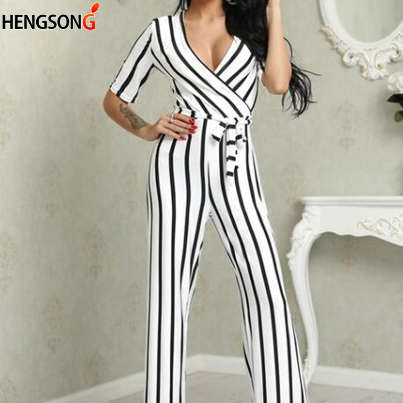 Fashion Streetwear Spring Summer Jumpsuit Women's Sexy Deep V Neck Black And White Striped Jumpsuit Women Rompers 2019