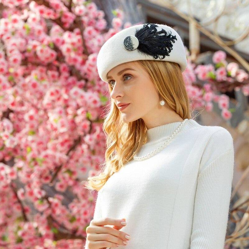 British Women Beret Wool Hat Black White Winter Felt Warm Caps French Artist Feather Berets Femme Stewardess Hats Fedoras