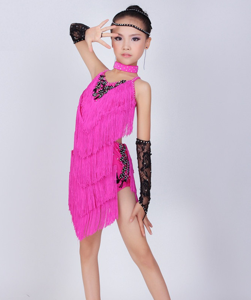 Child Latin Dance Dresses For Tassel style Cha Cha/Rumba/Samba/Ballroom/Tango Dance Clothing Kids Dance Costume Girls Dancewear