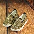 Nuevo 2016 Enfriar remaches Brillo Del Paillette de Los Niños Pisos Transpirable Niños Zapatillas de Lona girls & boys Zapatos para Unisex #2124