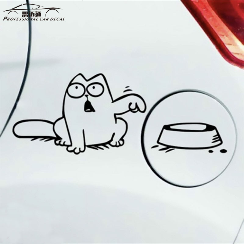 Car styling simon cat decal hungry feed cute funny reflective tank car motorcyle sticker auto bumper stickers for ford bmw lada