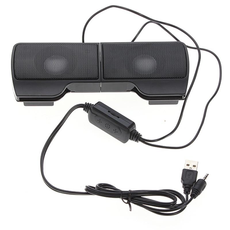 купить LEORY 1 Pair Mini Portable Clipon USB Stereo Speakers line Controller Soundbar for Laptop Notebook Mp3 Player PC with Clip онлайн