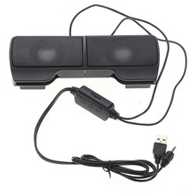 Leory mini caixa de som portátil usb, 1 par de mini clipes alto falantes estéreo, controle de linha para laptop, notebook, mp3 player, pc com clipe