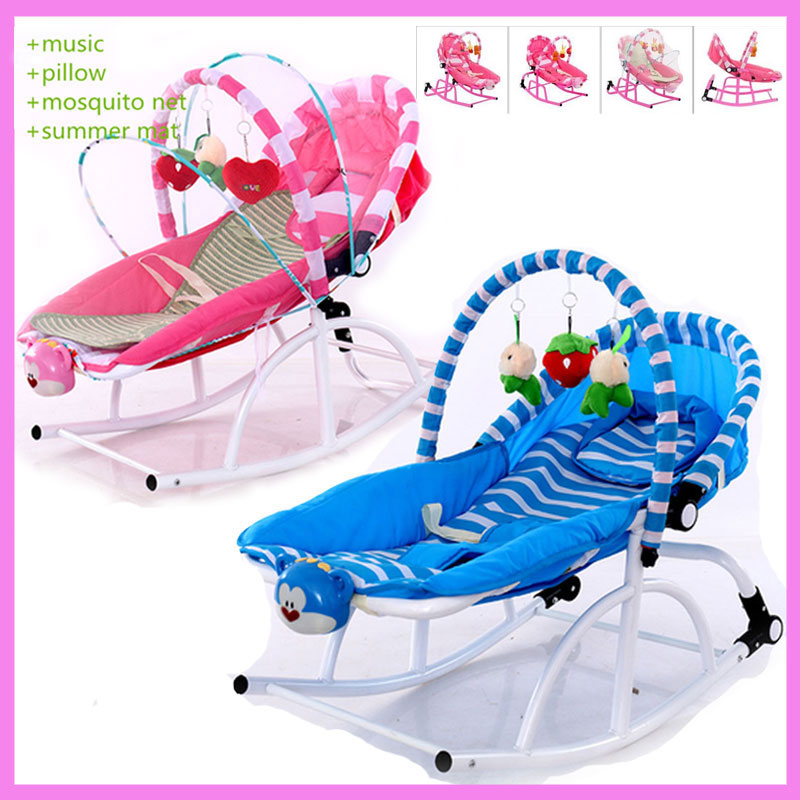 Newborn Baby Rocking Chair Comfort Toddler Cradle Deck Chair Sleeping Swing Lounge Chair Bouncers with Music Pillow Mosquito Net