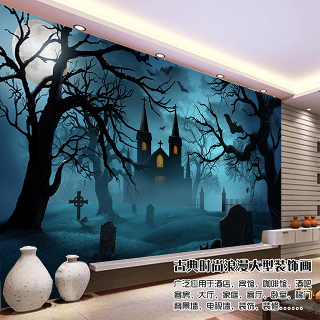 free shipping large modern bedroom living room tv background wallpaper mural wall painting dark castle halloween custom sizes - Halloween Wall Mural