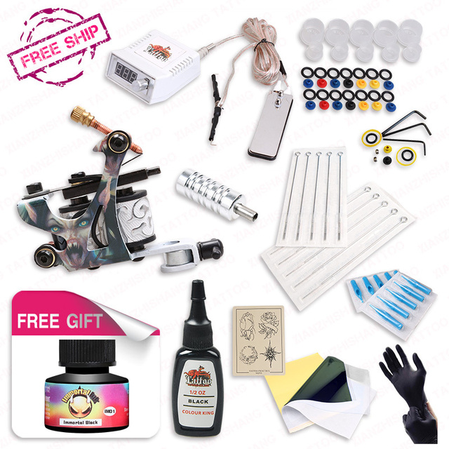 DHL Free Ship Beginner Tattoo Starter Kits  Power Supply Disposable Needle Pedal Tip IMMORTAL High Quality USA brand ink as gift