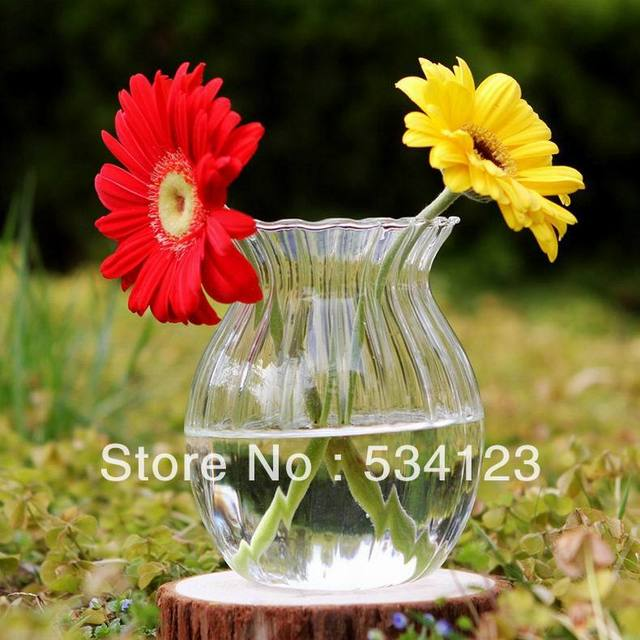 Clear stripe glass flower vase hydroponic vase,  vases for home decoration , glass terrarium, table vase