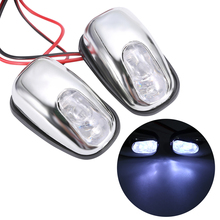 Boquilla de pulverización de chorro para parabrisas, luz LED blanca, accesorios para lámpara de limpiaparabrisas, 12V, 1 par