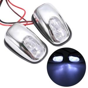 Image 1 - Boquilla de pulverización de chorro para parabrisas, luz LED blanca, accesorios para lámpara de limpiaparabrisas, 12V, 1 par