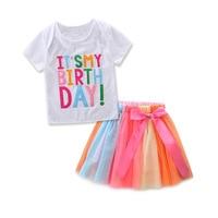 Одежда и аксессуары для девочек комплект письма аппликация летняя детская Костюмы для маленьких девочек модная одежда комплект из двух пре...