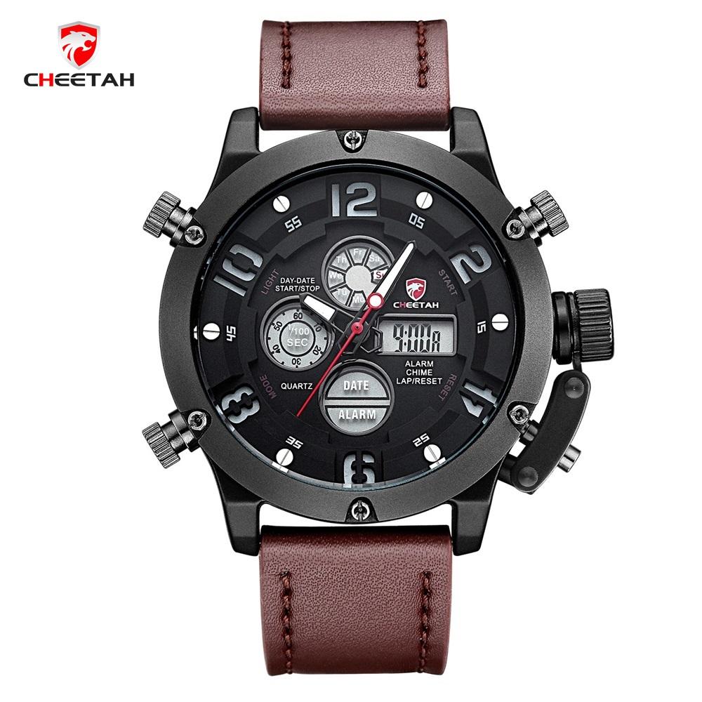 Prix pour 2017 nouveau design top marque cheetah hommes de montre led numérique double Affichage Montres Hommes Quartz Montre de Sport Horloge homme Reloj Hombre
