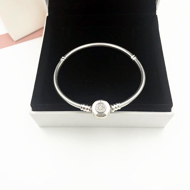 NEW! Perfect Charm logo Engraved Braccialetto di fascino Silver 925 Bangle pandoras Bracelet jewelry Making DIY chain for women недорго, оригинальная цена
