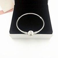 NEW! Perfect Charm logo Engraved Braccialetto di fascino Silver 925 Bangle pandoras Bracelet jewelry Making DIY chain for women