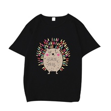 2018 New Fashion Cartoon Hedgehog Print T-Shirt Girl Short Sleeves O-Neck Tshirt Feminist Tee Harajuku T-shirt Women Tops