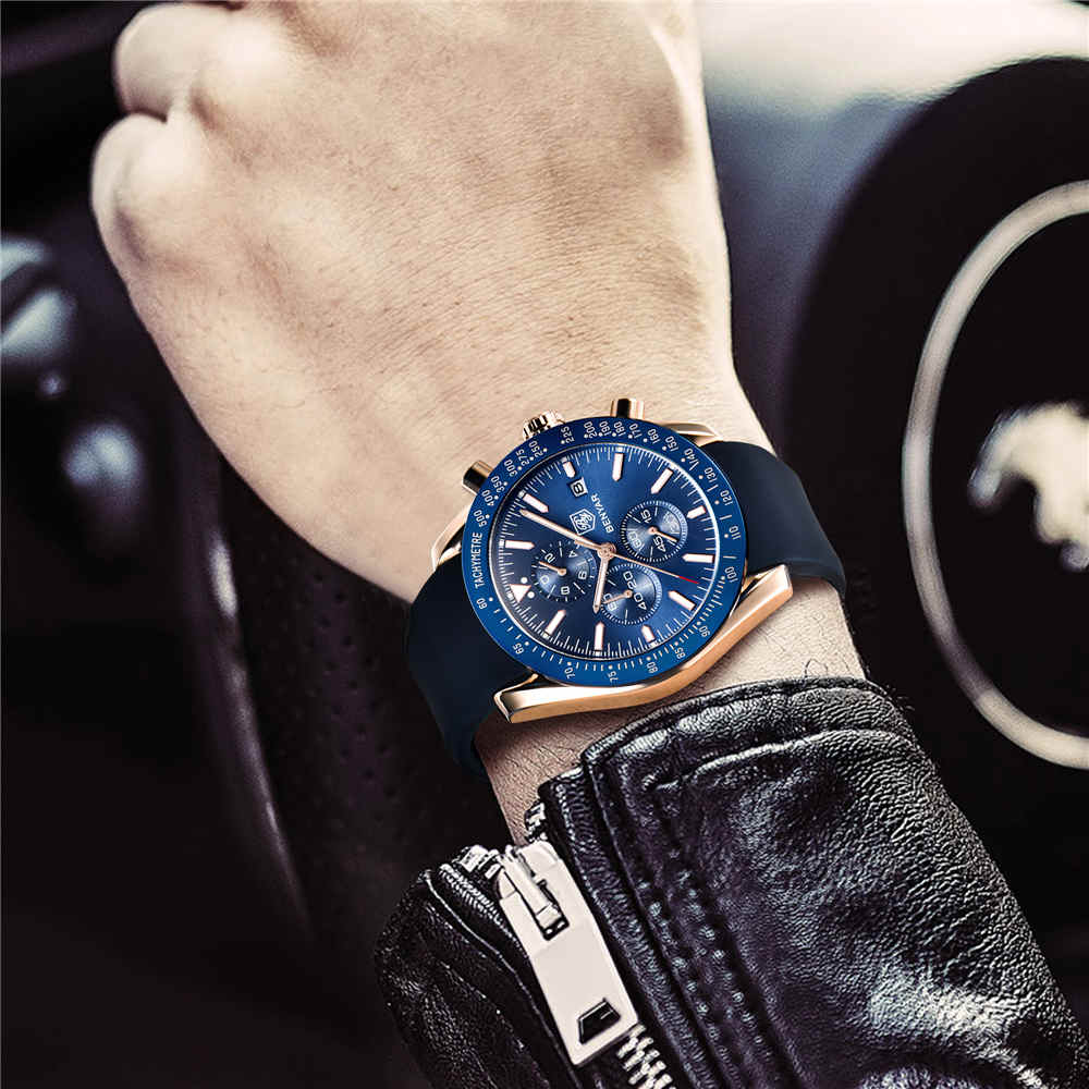 Silicone Strap Watch Benyar With Chronograph 1
