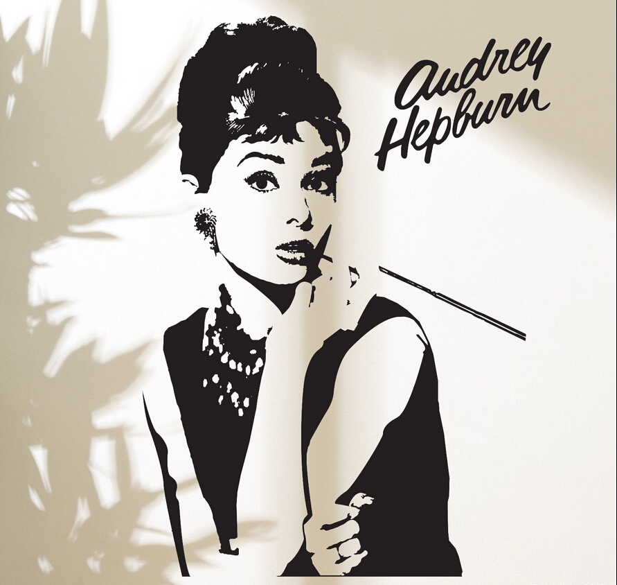 Fashion Goddess Audrey Hepburn Wall Decal Stickers Home Decor Makeup Audrey  Removable Vinyl Sticker Living Room Part 30