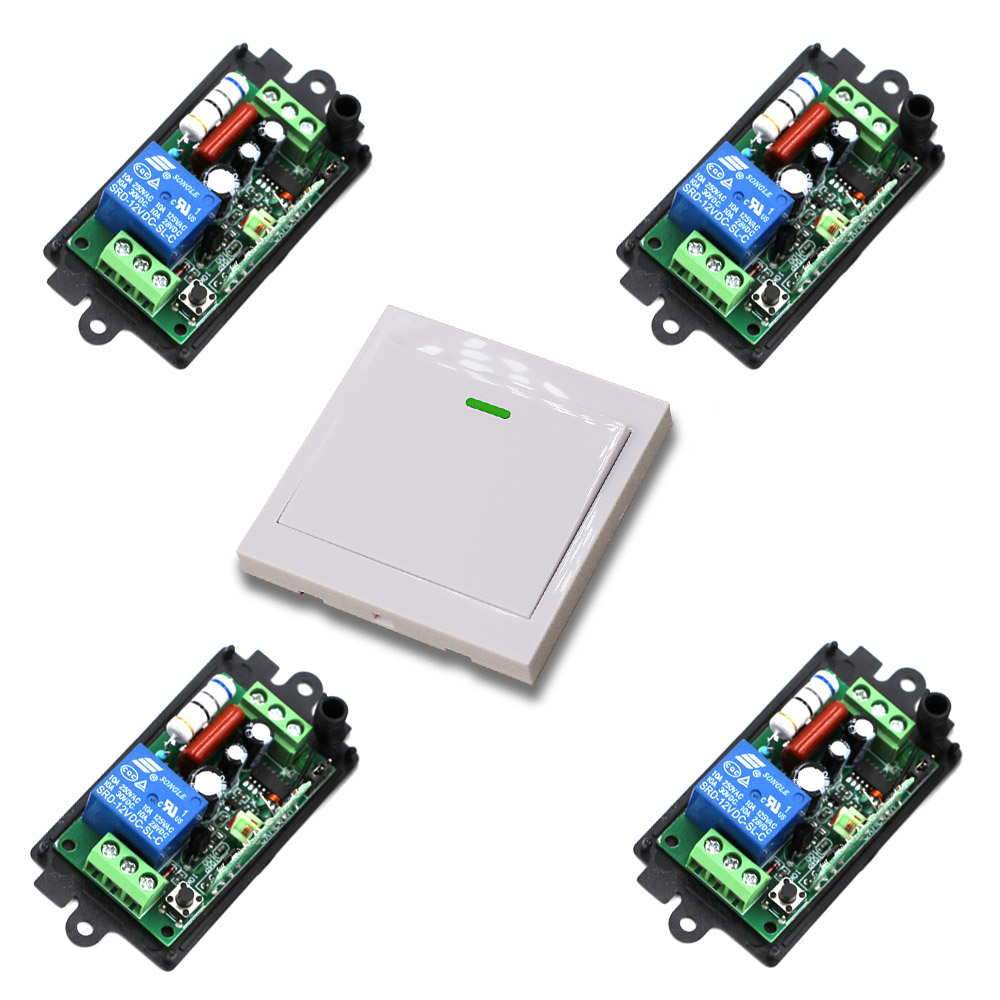 110V 220V Wireless Remote Control Switch Light Switch 10A 1CH Receiver Relay Wall Transmitter Learning Code 315/433Mhz 315 433mhz 12v 2ch remote control light on off switch 3transmitter 1receiver momentary toggle latched with relay indicator