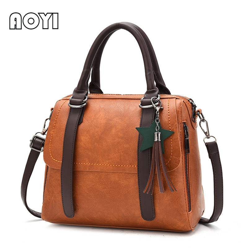 AOYI New Arrive Women Shoulder Bag Messenger Crossbody Motorcycle Bags Tassel Star Decor PU Leather Vintage Handbags Tote Purse bolish new arrive knitting retro clip women s handbag vintage women messenger bag fashion women crossbody bag