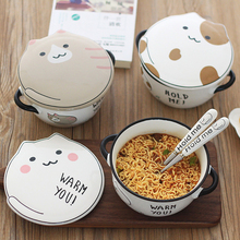 Cute cat pattern ceramic instant noodle bowl fruit salad bowl with lid soup bowl anti-scalding ramen bowl kitchen tableware classical cherry blossom ceramic bowl set with bamboo chopstick fruit salad rice soup ramen bowl water tea cup kitchen tableware