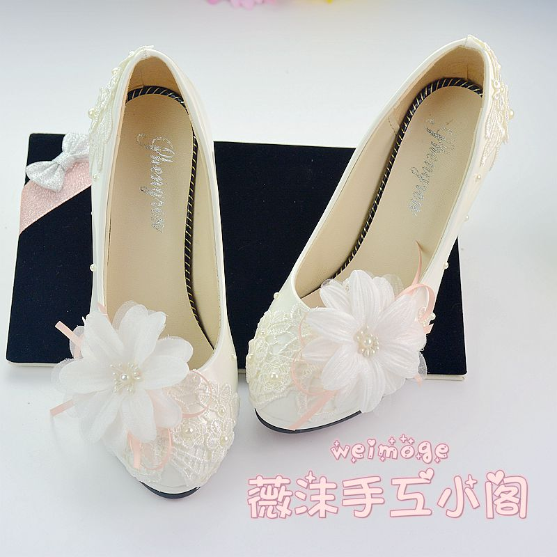 ФОТО 2016 New arrival white embroidered lace wedding high-heeled bridesmaid shoes free shipping