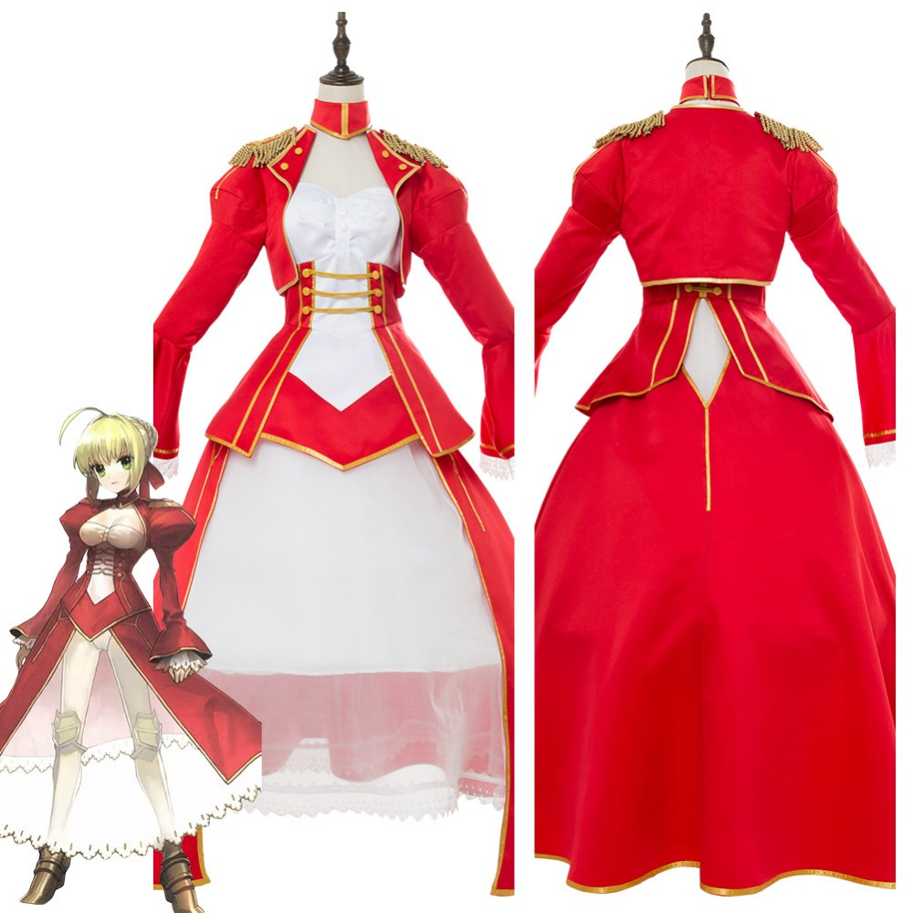 Cosplay Costume Fate/Extra: Last Encore Nero Saber Cosplay Costume Red Dress Adult Women Halloween Carnival Costumes