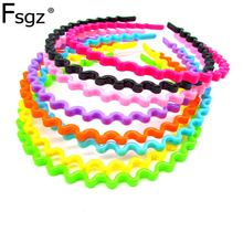 Wave Haibands For Girls Instant Noodles Plastic Head Hoop Korea Headwear Hair Style Hairpin ABS Bow Accessories