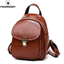 купить Vintage Women Mini Backpacks Oil Wax Leather College Shoulder Satchel School Rucksack Ladies Casual Travel Bag Travel Daypacks дешево