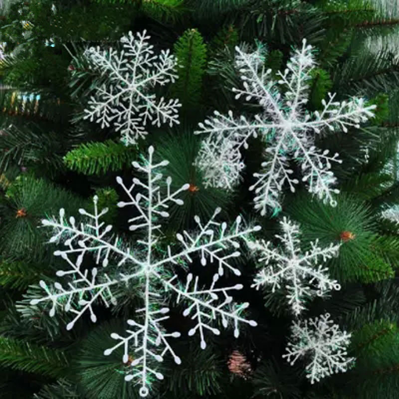 30pcs Snowflakes Christmas Tree Decorations  11cm White Snowflakes Plastic Artificial Christmas Party Decorations Pendant