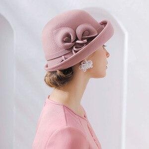 Image 2 - Fibonacci 2018 New Brand Quality Flanging Floral Wool Felt Fedoras Womens Autumn Winter Hats Dome Elegant Banquet Fedora Hat