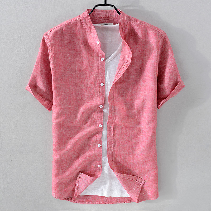 2018 New arrival stand collar linen shirt men short sleeve breathable s