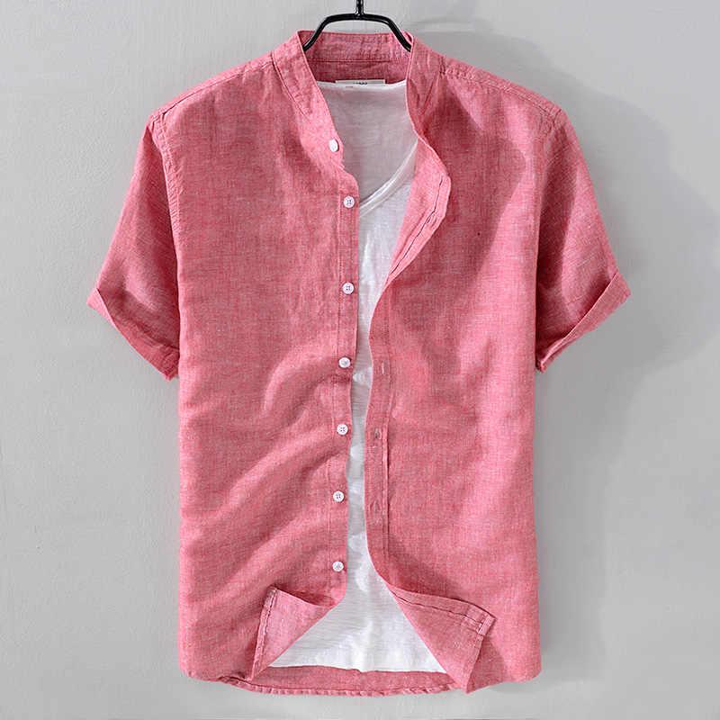 2018 新到着スタンド襟リネンシャツ男性半袖通気性シャツ固体サンゴ赤シャツ男性シュミーズ