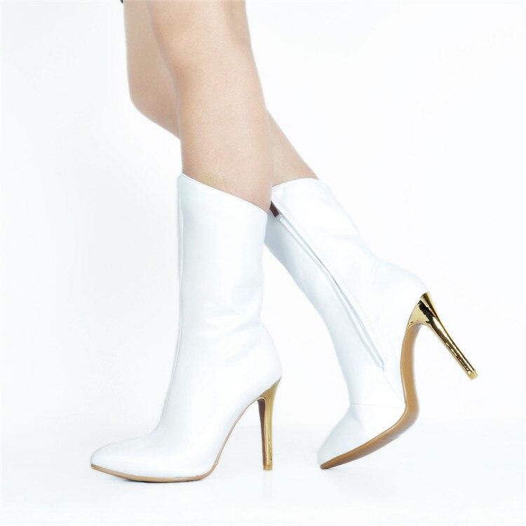 15 Delgada Blancos Zapatos White Más Ternero Ef1366 Tacones Mediados Punta Moda Tamaño Botas Original Intención Mujer De Elegante 4 La TCwzp