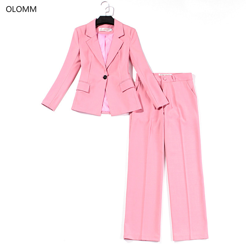 Suit Suit Female Wide Leg Pants Pink Slim Suit Jacket Wide Leg Trousers Professional Two-piece 2019 Autumn New Women's Clothing